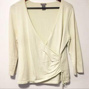 Ann Taylor Sage Green Silk Wrap Sweater Sz Large